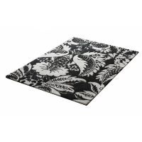 Black and White Floral Rug