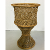 Short Vintage Twisted Rattan Planter