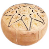 Moroccan Leather Pouf, Ivory, Black & Gold