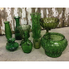 Set: 9 Assorted Glass Vessels Green