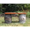 Wine Barrel Table with Dark Door Topper