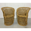 Set of 2 Vintage Rattan Barrel Chairs