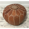 Moroccan Leather Pouf, Light Brown