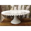 Vintage White Ruffled Cake Pedestal