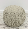 Ivory & Silver Rope Pouf