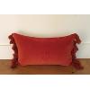 Orange Rust Lumbar Tassle Pillow
