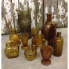 Set: 12 Assorted Vintage Amber Glass Vessels