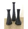 Vintage Black Hobnail Vases