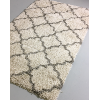 Grey & Ivory Moroccan Lattice Shag Rug