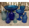 Set: 8 Assorted Vintage Blue Glass Vessels