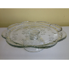 Vintage Clear Glass Ruffled/Floral Print Pedestal