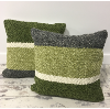 Set of 2 Green, Ivory & Grey Pillows