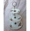Vintage Three Tier Floral Plate Dessert Pedestal