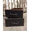 Set: Two Vintage Black Wooden Drawers