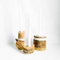 Painted Wooden Candle Holders