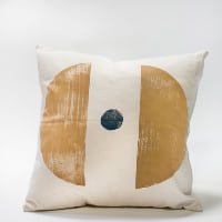 Pillow // Tan Moon Blue Dot Block