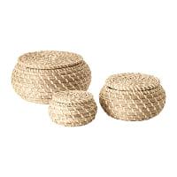 Woven Lidded Bowls, set of 3