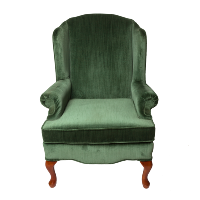 Leeland Green Velvet Wingback Chair