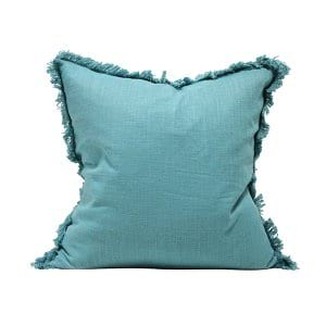 Teal Pillow with Fringe