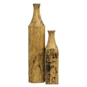 Wooden Vessel Bottles - Pair