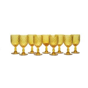 Dark Amber Diamond Pattern Goblet - Bulk
