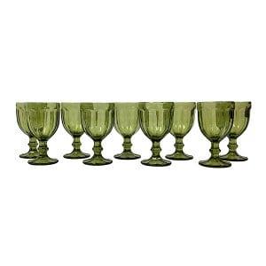 Dark Green Clear Goblet - Bulk