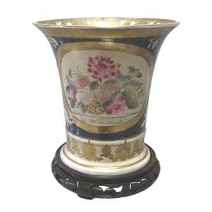 Handpainted Vase on Wooden Stand
