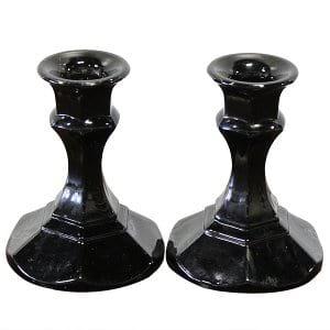 Biona - Black Glass Candlesticks (Pair)