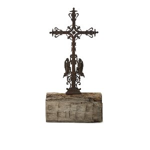 Antique Relic Cross In Wood Base
