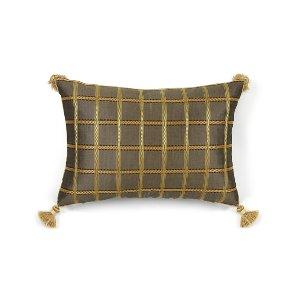Gold/Gray Check Kidney Cushion