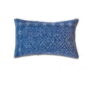 Indigo Linen Kidney Cushion