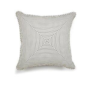 Gray/White Ticking Stripe Cushion