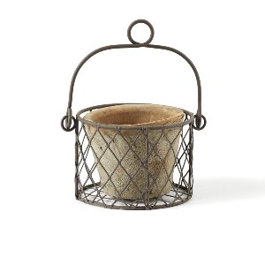 Small Clay Pot In Wire Basket