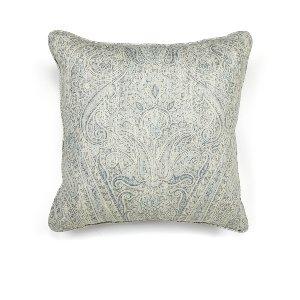 Blue/Gray Linen Paisley Cushion