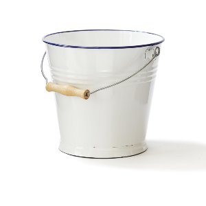 Rustic White Tin Bucket With Blue Trim