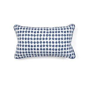 Blue & White Ikat Kidney Cushion