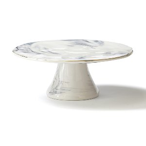 Gray & White Faux Marble Cake Stand