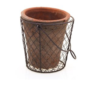 Large Clay Pot In Wire Basket