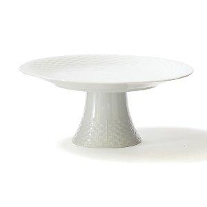 White Basketweave Cake Stand
