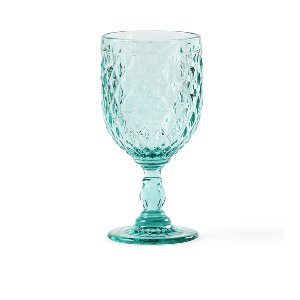 Teal Diamond Cut Goblet