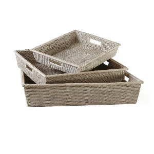 Basket/Tray-Whitewashed Large