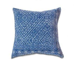 Indigo Linen Cushion-Patterned