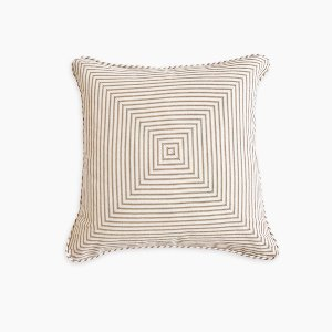 Tan/White Ticking Stripe Cushion