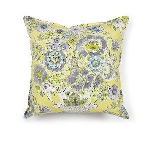 Citrus/Gray Floral Cushion