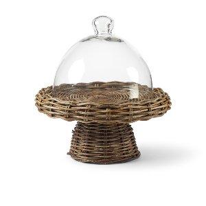 Woven Vine Pedestal & Glass Dome