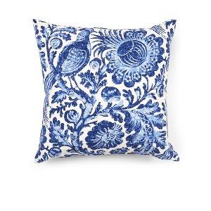Blue & White Linen Damask Cushion