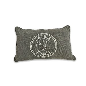 Gray Stamped Kidney Cushion