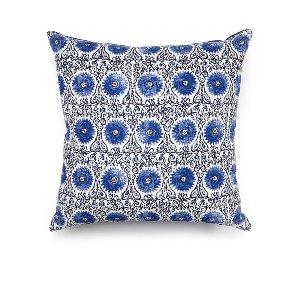 Blue & White Linen Medallion Cushion