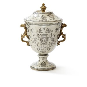 Gray & Gold Chinoiserie Vessel