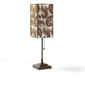 Dashing- Bronze Lamp With Paisley Glass Shade